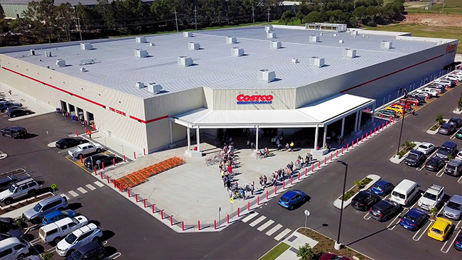 People lining up to get into Costco